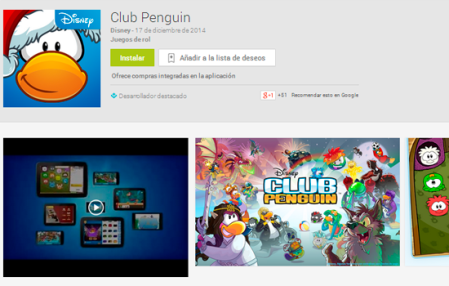 Club Penguin disponible en Android